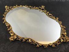 "Vintage 26"" Rococo Solid Brass Ornate Mirror Italian Hollywood Regency Antique"