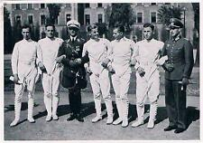 Rare Large 1936 Berlin German Fencing Team Olympic Collector Photo Card