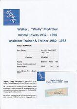 Wally McArthur Bristol ROVER 1932-1950 rara mano originale firmato TAGLIO / CARD