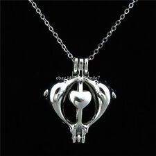 K14 Silver Perfume Locket Necklace - Heart Dolphin Pearl Bead Cage - Girl Charms