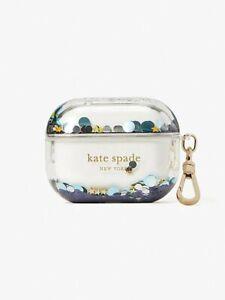 NWT Kate Spade Liquid AirPod Pro Case Clear & Blue Glitter