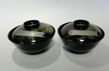 k#32 Set of 2 Japanese Lacquerware MAKIE Vintage Soup Bowl OWAN / Chrysanthemum