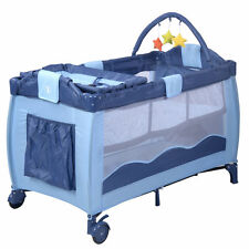 Blue Baby Crib Playpen Playard Pack Travel Infant Bassinet Bed Foldable