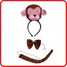 MONKEY HEADBAND HAIRBAND WITH EARS+BOW TIE+TAIL- 3PC DRESS UP SET -COSTUME -3