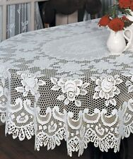 Heritage Lace ROSE Tablecloth 60 x 108 Oval Off-White Made in USA