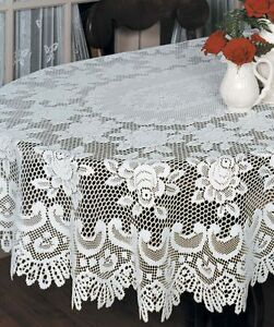Heritage Lace Rose Tablecloth 52 x 72 Oval Off-White