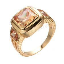 10mm Rings Size 10 Orange Topaz Crystal Women/Men's 10Kt Yellow Gold Filled Free