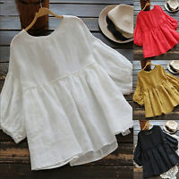 Womens Puff Sleeve Babydoll Tops Holiday Blouse Loose T-Shirt Casual Plus Size