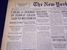 1938 AUG 23 NEW YORK TIMES - 2 DEAD, 51 INJURED IN SUBWAY CRASH MOTORMAN- NT 705