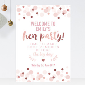 Personalised Welcome To My Hen Party Sign Poster in Rose Gold Effect & Pink BS45