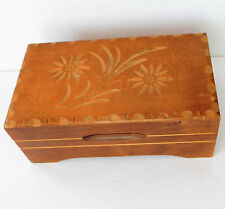 Vintage Swiss music box Carved wood Edelweiss trinket Reuge movement FAULTY EJB
