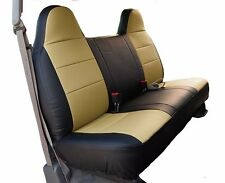 FORD F-150 BLACK/BEIGE IGGEE S.LEATHER CUSTOM FIT BENCH FRONT SEAT COVER