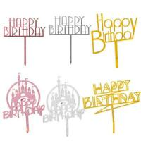 Acrylic HAPPY BIRTHDAY Cake Topper Card Cakes Insert Supplies Home Party X5D2
