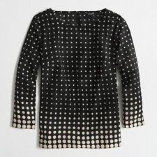 Women's J Crew Black White Polka Dot Scoop Neck Blouse Top SZ S