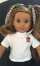 Custom Made American Girl Holiday Gingerbread Man Tee Shirt & Hair bows Cute!