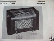 AUTOMATIC 620 RADIO PHOTOFACT