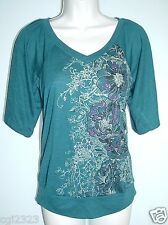 STYLE&CO. Petite Size P/P Embellished V-Neck Prints Top NWT