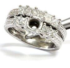 platinum 1.25ct VS1 G semi mount princess diamond engagement ring 15.2g vintage