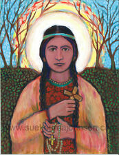 "St. KATERI TEKAKWITHA—13 x 17""—Catholic Art—Archival Print—Native American Saint"
