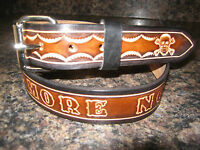 """CUSTOM MADE GENUINE LEATHER BELT ( WITH YOUR NAME) SKULLS BROWN & BLACK 1 1/2"""""""