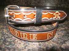 CUSTOM MADE GENUINE LEATHER BELT ( WITH YOUR NAME) SKULLS BROWN & BLACK 1 1/2""
