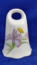 "Vintage Purple Bearded Iris Porcelain Bell 3.75"" EUC"
