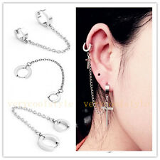 1pc Mens Women Steel Double Hoop Huggie Stud Ear Clip Ring Chain Earring Punk