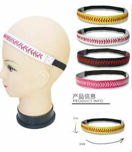 1x Baseball Softball Sports Headband Yellow Leather Red Lace Seam & Colors PICK