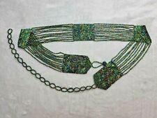 Vintage Women's Green Rainbow Shine Tone Beaded Beadwork Chain Link Belt Boho