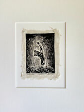 MATTED 12x16 Woodcut Original Print Male Classic Model Pose Sweet Rain Figure