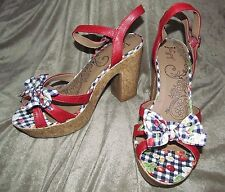 NEW Synthetic RED cork open high strappy platforms gingham print JELLYPOP 11 M