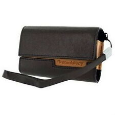 Genuine Blackberry Black Tan Leather Folding Wallet Pouch Case with Carry Strap