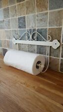 Shabby Chic Wall Hanging Ivory Scroll Metal Kitchen Roll / Towel Holder