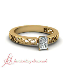 3/4 karat Diamond Ring With Certified Radiant Cut Floral Shank in Yellow Gold