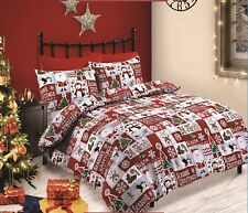Be Merry Red Christmas Santa Penquin Patchwork Festive Fun Duvet Cover Bed Set Double