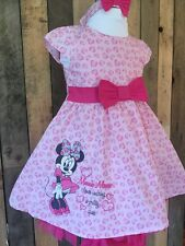 New Minnie Mouse Pink Baby Girl Dress, Knickers And Headband Set Age 3-6 Months