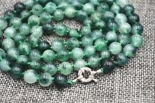 "6mm Vintage Emerald Gemstone Graduated Bead Necklace Strand 36"" JN225"