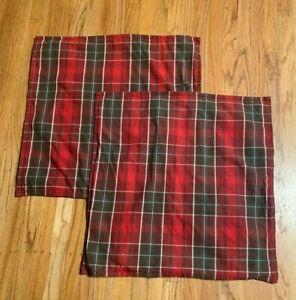2 Pottery Barn Throw Decorative Pillow Covers  Pair Red Brown Plaid 24x24
