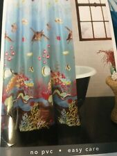 "EXCELL TURTLE BAY VINYL SHOWER CURTAIN 70"" X 72""  SEA LIFE OCEAN FISH BLUE RED"