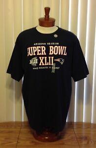 New England Patriots Super Bowl XLII T Shirt Blue Reebok NWT Adult XL NFL Appare