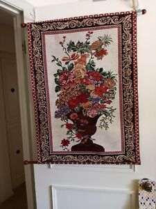 """Wall Tapestry Flowers In Urn 27"""" x 35""""  Bombay Company Elegant 5501481"""