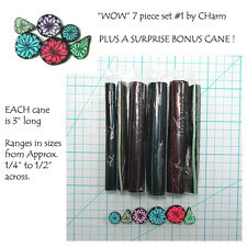 "WOW Polymer clay cane set of 7 canes EACH  3"" Long design by CHarm #1"