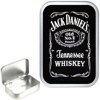 JACK DANIELS SILVER HINGED TIN 50ml BOX ,STORAGE TIN BOX,PILL TIN, POCKET TIN