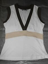 BNWOT MEXX White Brown & Beige Soft Stretchy Cotton Fitted Vest Top Size XL (UK)