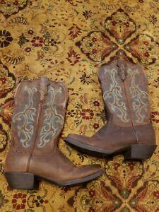 Ladies Justin Brown w/ Turquoise&Yellow Stitching Cowboy Boots 8.5 B