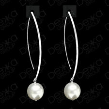 Genuine 925 Sterling Silver & White Swarovski Pearl Drop Dangle Earrings
