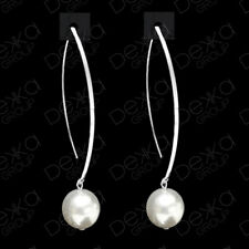 Genuine 925 Sterling Silver Made With White Swarovski Pearl Drop Dangle Earrings