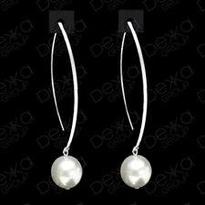Genuine 925 Sterling Silver & White Swarovski Pearl Drop Dangle Earrings