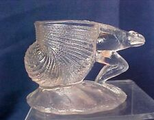 Frog Pulling Snail Shell Clear Glass Toothpick Holder