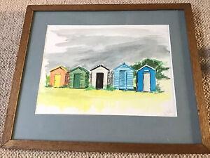 Suffolk Artist M Dolling Framed Watercolour Southwold Beach Huts